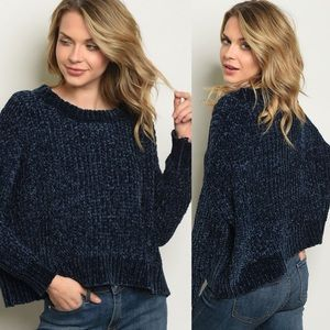 Super Duper Soft Blue Chenille Sweater NWT